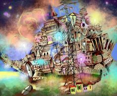 Die Stadt, in der ich lebe Surrealism, Artworks, Painting, City, Life, Art Pieces, Paintings, Draw, Drawings