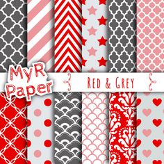 """With #love by @myrpaper in @etsy #pattern #design #graphic #paperdesign #papercraft #scrapbooking #digitalpaper Red Digital Paper: """"Red & Grey"""" Paper Pack and Backgrounds with Chevron, Polka Dots, Stripes, Damask, Quatrefoil, Stars, Hearts, Ornamental    HELLO AND WELCOME TO MY SHOP ..."""