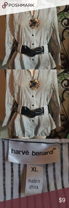 Harve' Bernard shirt Black and whit pinstripe with belt loops. Belt not included. Bust measures 19 Ballon bottom can be puffed off or worn flat. Harve Benard Tops Button Down Shirts