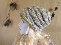 Women knit slouchy - Slouch Beanie - OATMEAL TWEED Hat - Chunky Knit Fall Accessories Knit Cable hat