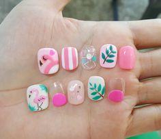 Make an original manicure for Valentine's Day - My Nails Love Nails, Fun Nails, Flamingo Nails, Watermelon Nails, American Nails, Halloween Nail Art, Nail Decorations, Cool Nail Designs, Nail Arts