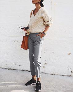 ACNE STUDIOS | deborah knit / H&M | cigarette pants / NIKE | air huarache run ultra / MANSUR GAVRIEL | sun leather tote