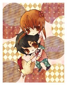 Aww! So cute! Chibi Haru and Shizuku! (Plus, the chicken! Does anyone remember his name. Haha... ;P)