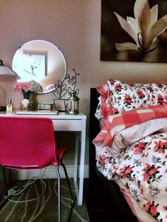 Rosy Casual Chic Decor IKEA Malm Micke DIY Pink Bedroom and Vanity Desk Space