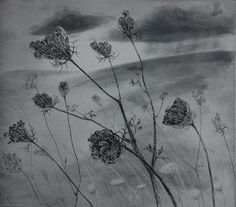 Shelter from grey weather etching by Flora McLachlan di Foxnest