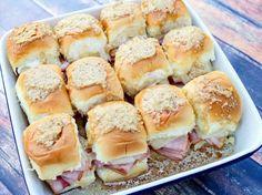 Anytime Tailgate Sandwiches #Dish #cream-cheese #swiss #ham #worcestershire #sporty #Hawaiian rolls #justapinchrecipes