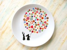 pottery painting designs Hand painted porcelain plate Buttons and bunnies Pottery Plates, Ceramic Pottery, Pottery Art, Painted Pottery, Dot Painting, Ceramic Painting, Ceramic Art, Painted Ceramic Plates, Hand Painted Ceramics