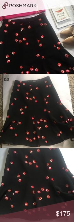 Kate Spade Falling Florals Skirt some floral prints feel irretrievably summery, to be sure, but this richly-hued skirt is perfect for fall; pair it with tights and a dark-colored sweater to make the tiny blooms really pop. Gently worn and in great condition!             100% polyester fluted knee-length skirt kate spade Skirts