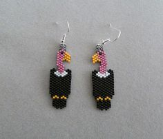 Vulture Earrings in delica seed beads