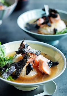 Australian Gourmet Traveller Japanese recipe for ochazuke with ocean trout and nori. Seafood Recipes, Gourmet Recipes, Asian Recipes, Ethnic Recipes, Nori Recipe, Sushi, Japanese Food, Japanese Meals, Japanese Dishes