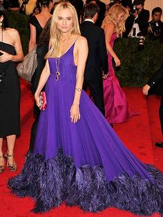 Diane Kruger Glides Up the Met Gala Staircase in a Purple Prada Gown