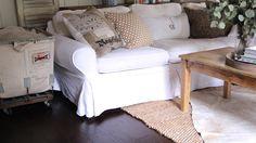 My Sweet Savannah: ~our new living room flooring~ Living Room Flooring, Living Room Chairs, New Living Room, Living Room Kitchen, Ikea Sofa, Open Concept Kitchen, Decoration, Slipcovers, Savannah