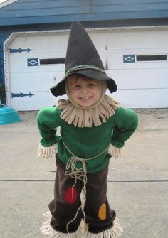 """DIY Scarecrow costume. I love the idea of felt and yarn/rope """"hay""""... Would be much less itchy and scratchy for the little one."""