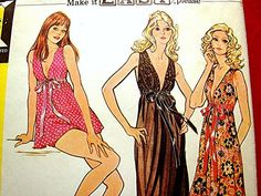 Vintage 1970s Misses Low Cut Sexy Nightgown Pattern Baby Doll Pajamas with Panties size Bust 34 36 UNCUT Sewing Pattern