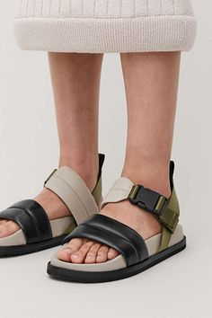PADDED LEATHER SANDALS - Green / black / grey - Shoes - COS