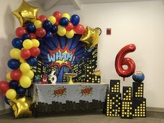 Super Hero party cake table backdrop with balloon garland Hero city buildings , balloons Superman Birthday Party, 2nd Birthday Party Themes, Baseball Birthday Party, Avengers Birthday, Birthday Backdrop, Birthday Balloons, Birthday Party Decorations, Birthday Favors, Birthday Cupcakes