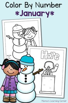 Download a free set of color by number worksheets with a January theme! Includes simple addition and subtraction equations.
