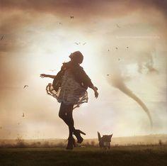 """the storm gathers.."" by Bella Kotak (.bella.), via Flickr. #bella_kotak #photography #women #light #storms #cyclones #sky #dust #birds #silhouettes #dogs"