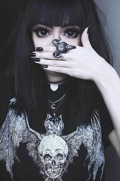 Goth, pretty, dark, big eyes, eyeliner, fashion, creepy, makeup, black, jewellery, accessories, style, cool   #pinyourlove #picmonkey