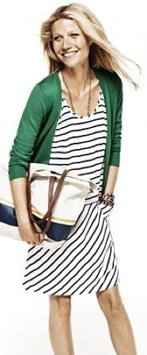 Outfit Posts: outfit posts: navy and white striped dress, kelly green cardigan
