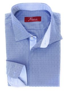 Persona Premium Dress Shirt Light blue cross hatch with white and blue plaid accents