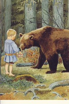 Elsa Beskow. via arianne::stillparenting. Hello Bear! I'll give you a muffin for a ride home!