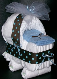 Bassinet Diaper Cake Brown Blue Dot Baby Shower Centerpiece via Etsy