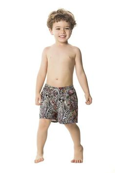 Agua Bendita Himalaya Swim Shorts are busting with energy! We love its abstract geometric print that features a pop of color here and there <3 #boysfashion #boyswimshorts #designerswimwear