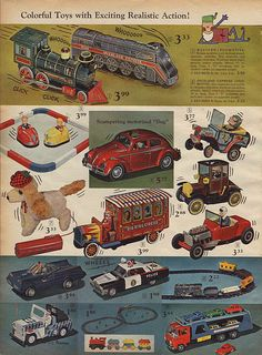 Lithographed Tin Toys in J.C. Penney's Christmas Catalog, 1966, by Wishbook, via Flickr.  I had the locomotive shown at top left.