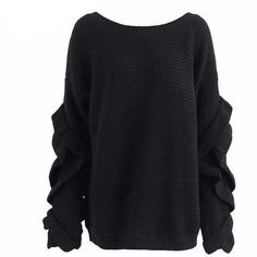 The Emily Ruffled Sweater is a casual lounge pullover knit sweater that can be off one shoulder or both, with loose, ruffled sleeves and a wide collar. Cute Sweaters For Fall, Black Like Me, Ruffle Sleeve, Bell Sleeves, Autumn Fashion, Men Sweater, Trending Outfits, Clothes For Women, Casual