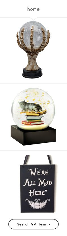 """""""home"""" by brooklyncarter21 on Polyvore featuring home, home decor, holiday decorations, halloween home decor, skeleton home decor, cat home accessories, glitter snow globe, cat home decor, cat snow globe and wooden home decor"""