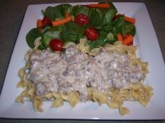hamburger beef stroganoff, easy dinner recipes---I add a onion soup mix package to the ground beef with some water-cook until brown-drain. Add 2 cans of cream of mushroom soup cans and a couple big scoops of sour cream. I also add pepper and Worcestershire sauce. Next time I may do a can of cream of onion with a can of cream of mushroom (for more onion flavor).