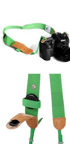 Camera strap with lens cap holder