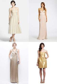 Brides.com: . All that glitters is gold — bridesmaid dresses included. Gold is an inherently festive color, which is why it's perfect for the biggest celebration of your life! From full-on sequin minis to a subtle gold jacquard or polka dots, the amount of shimmer and shine is up to you when it comes to having a gilded bridal party on your wedding day.  Since gold is often associated with the holiday season it best suits a winter wedding, but you can deck out your girls in gold for a…