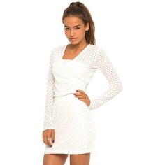 Motel Nelly Long Sleeve Crop in Nanna Knit White ($16) ❤ liked on Polyvore