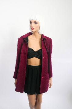 26f1f0a4248 Gianni Versace Complice Structured Jacket Nubby Wool Blazer Red Wine 1980s  Designer 80s Fall Winter 1970s