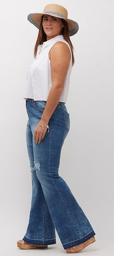 Plus Size(!?) Flares -  She looks average and super attractive in my opinion, not plus. Much better than emaciated skeletons in clothes.