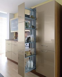 Stock up on storage ideas for your kitchen Smart Kitchen, Kitchen And Bath, Kitchen Storage, Tall Cabinet Storage, Kitchen Room Design, Kitchen Interior, Kitchen Ideas, Interior Design Studio, Interior Design Living Room
