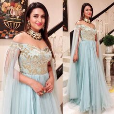 * Type : Semi- Stitched * Gown Fabric : Georgette * Gown Color : Sky Blue * Gown Length: * Gown Width : Size * Gown Flare/Ghera : M * Size : Free Size * Work :- Zari Work Quality Guarantee Wash Care : Dry Clean Delivery Time:-Sam Grey Gown, Blue Gown, Bridal Lehenga, Lehenga Choli, Lehnga Dress, Lehenga Blouse, Bridal Outfits, Bridal Dresses, Stunning Dresses