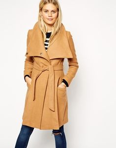 """ASOS Funnel Neck Coat in Camel {take 10% off on purchases of $75+ w/ code """"RMNNOV"""", limited time noly}"""