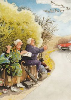 In a small village in Finland lives the world-famous artist-illustrator Inge Löök. Inge Look - pseudonym of the artist, real name Ingeborg Lievonen. Old Lady Humor, Growing Old Together, Old Folks, Look Older, Alphonse Mucha, Norman Rockwell, Old Women, Belle Photo, Getting Old