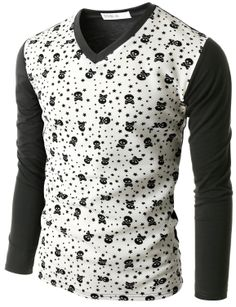 Doublju Men's Skull Pattern Long Sleeve T-Shirt (CMTTL07) #doublju