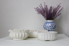 Set of 3 White Planters by PlaceMichel on Etsy