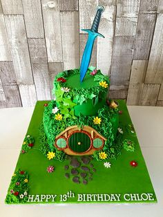 Hobbit Themed Two Tier Cake by Crazy Cake Lady Fondant Cakes, Cupcake Cakes, Cupcakes, Beautiful Cakes, Amazing Cakes, Hobbit Cake, Zelda Birthday, Hobbit Party, Two Tier Cake