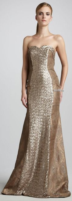 Theia Sequined Strapless Gown