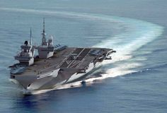 Weird Early CGI of HMS Queen Elizabeth configured with angled flight deck and cats & traps