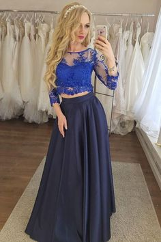 Two Piece Sleeves Navy Blue Prom Dress with Royal Blue Lace Prom Dresses Blue, Prom Dresses Two Piece, Prom Dresses, Navy Prom Dresses, A-Line Prom Dresses Prom Dresses 2020 Gold Two Piece Prom Dress, Two Piece Formal Dresses, Two Piece Evening Dresses, Junior Formal Dresses, Sexy Evening Dress, Dark Blue Prom Dresses, Sequin Prom Dresses, Prom Dresses With Sleeves, A Line Prom Dresses