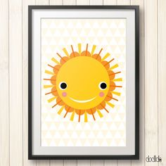 Sun poster,printable children's wall art,instant download,kids art,digital file,yellow,scandinavian style,kids room art,nursery wall decor