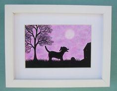 #Dog Picture #Framed: Dog #Art, Dog Gift, #Black Dog Picture, Framed Art #Purple, Dog £24.00