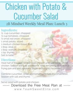 Chicken with Potato Cucumber Salad Fixate Recipes, Healthy Recipes, Lunch Recipes, Dinner Recipes, Healthy Meal Prep, Healthy Eating, Healthy Lunch Smoothie, Healthy Life, Healthy Food